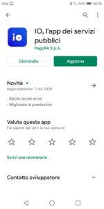 App IO Android aggiornamento 7 dicembre 2020