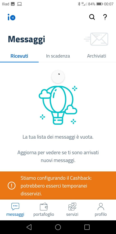 App IO messaggio Configurando Cashback
