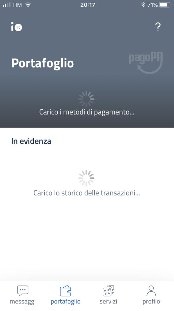 App IO cashback schermata errore: Carico i metodi di pagamento... Carico lo storico delle transazioni...