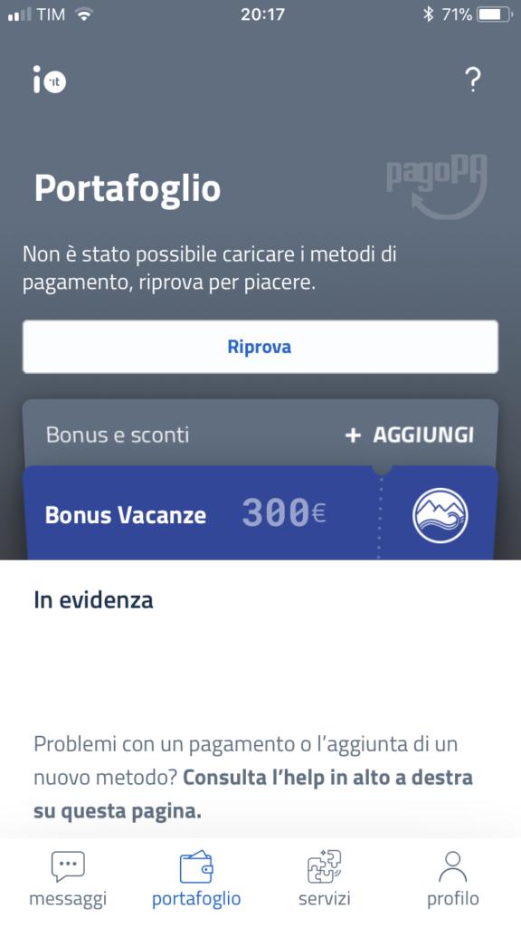 App IO cashback schermata errore: non è stato possibile caricare i metodi di pagamento, riprova per piacere