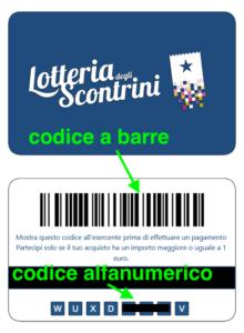 Esempio di codice generato per la lotteria degli scontrini