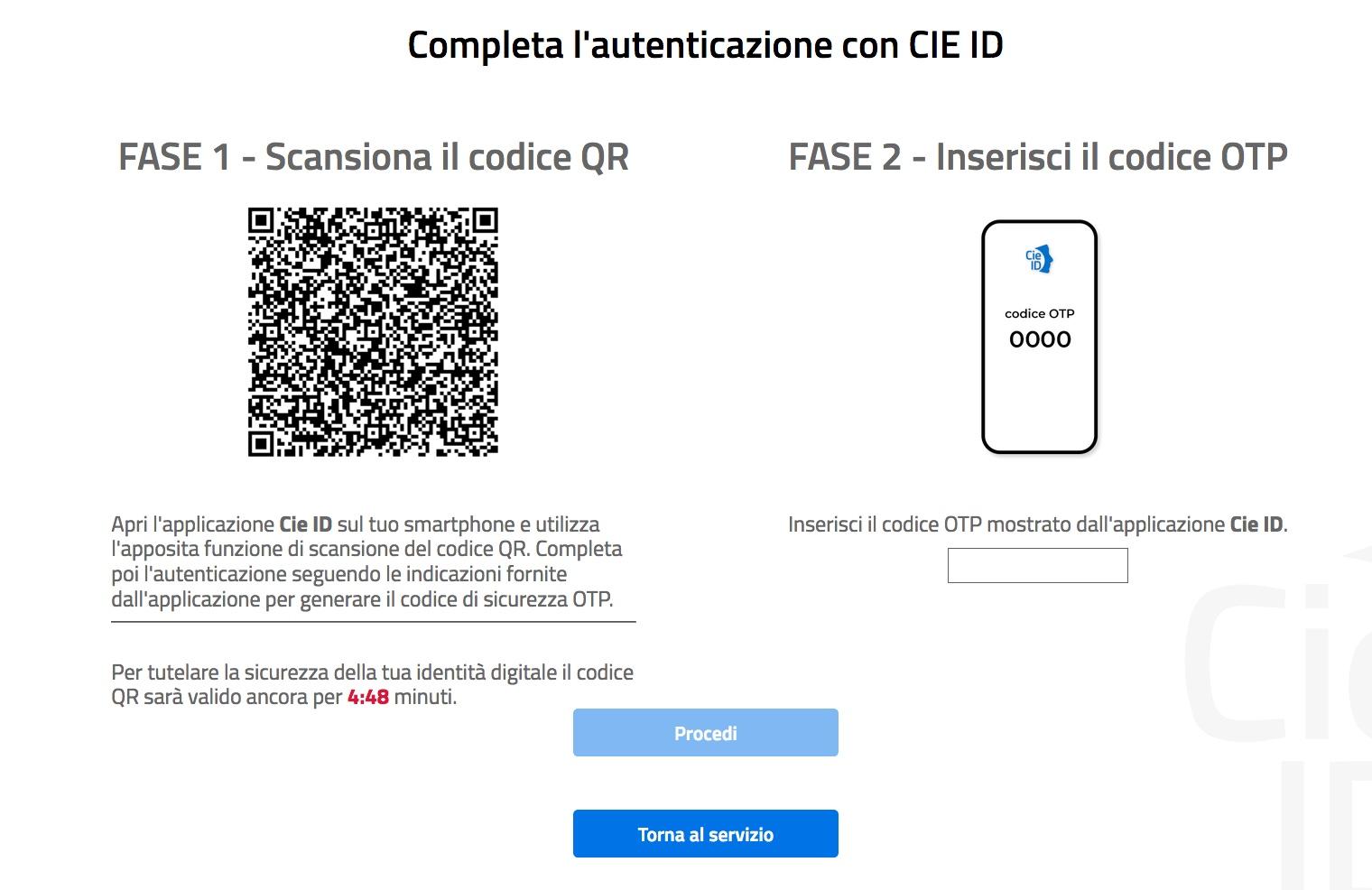 Schermata completa autenticazione con CIE ID
