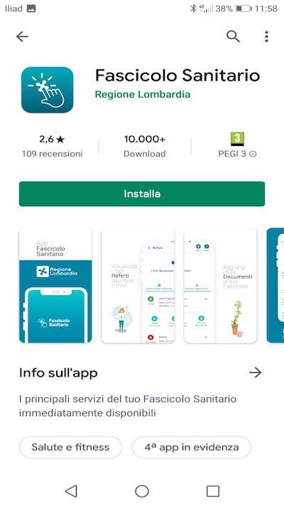App Fascicolo Sanitario Regione Lombardia su Play Store