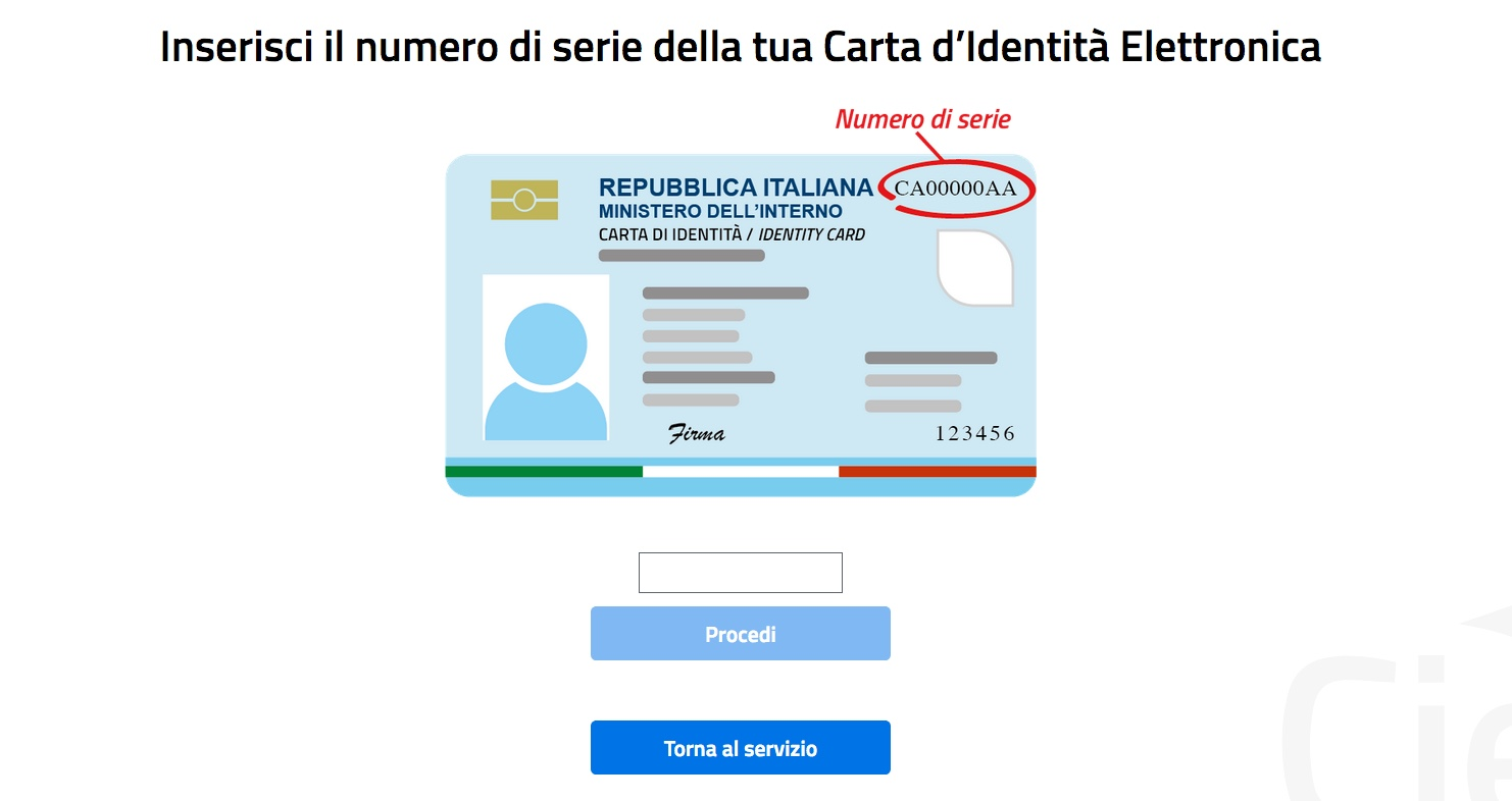 Schermata inserisci numero di serie carta identità elettronica