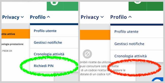 Voce di menu Richiedi PIN non disponibile nel Fascicolo Sanitario Elettronico