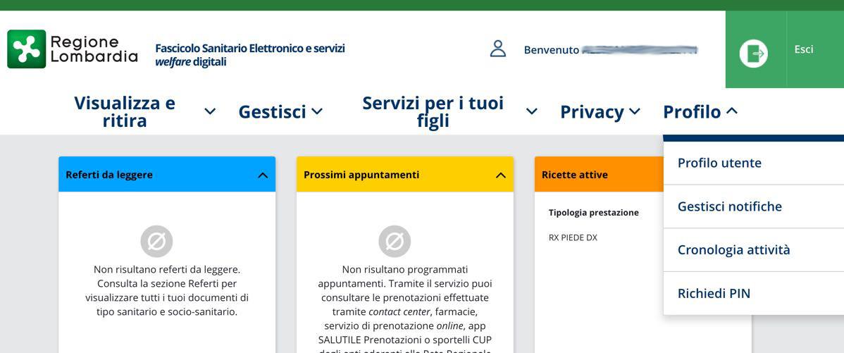 Richiesta PIN online Carta Regionale Servizi Lombardia: accesso al proprio profilo