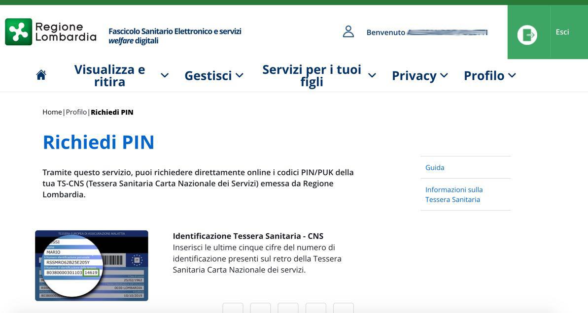 Richiesta PIN online Carta Regionale Servizi Lombardia: la pagina di richiesta