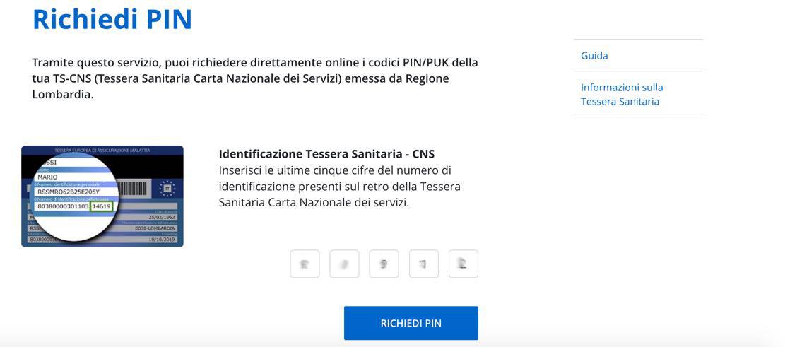 Richiesta PIN online Carta Regionale Servizi Lombardia: inserimento ultime cifre