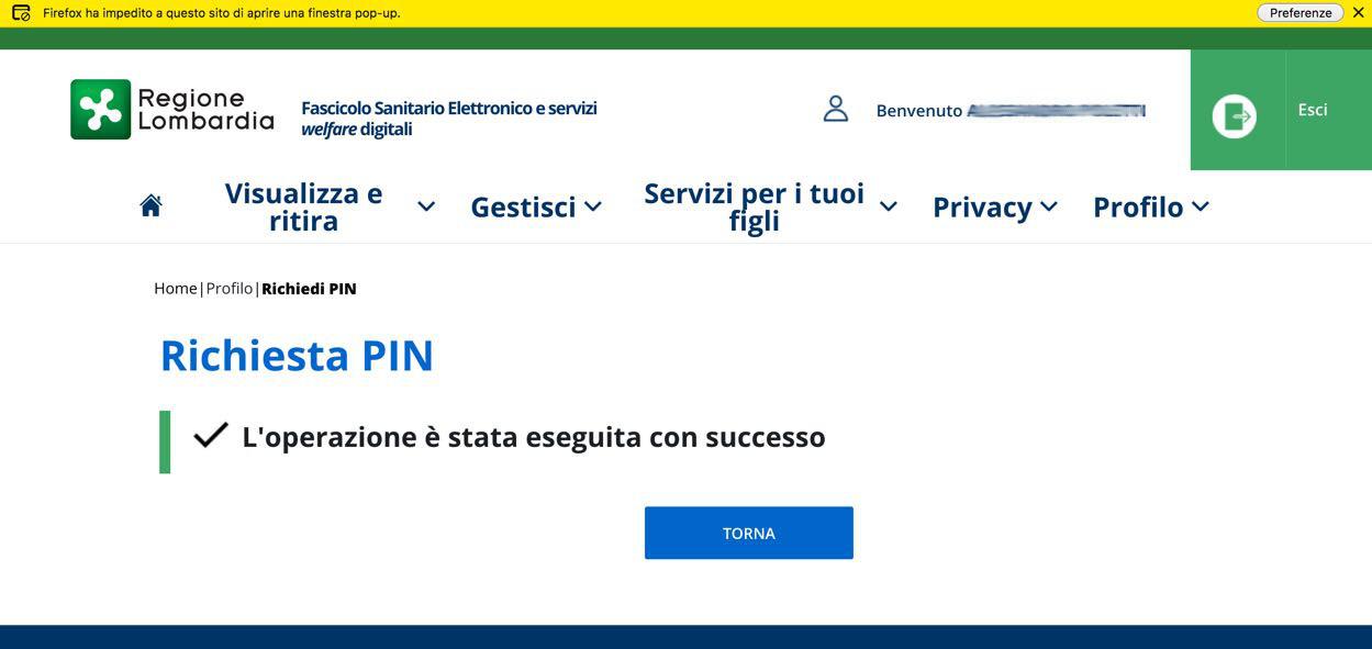Richiesta PIN online Carta Regionale Servizi Lombardia: richiesta eseguita