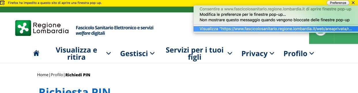 Richiesta PIN online Carta Regionale Servizi Lombardia: sblocco apertura popup