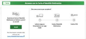 Schermata di accesso con Carta Identità Elettronica