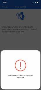 Schermata App CIE ID Errore hai rimosso la carta troppo presto riprova