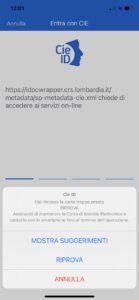 Schermata App CIE ID Hai rimosso la carta troppo presto riprova suggerimenti