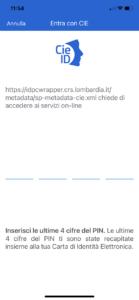 Schermata App CIE ID Inserisci ultime 4 cifre codice PIN