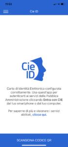 Schermata App CIE ID scansiona codice QR