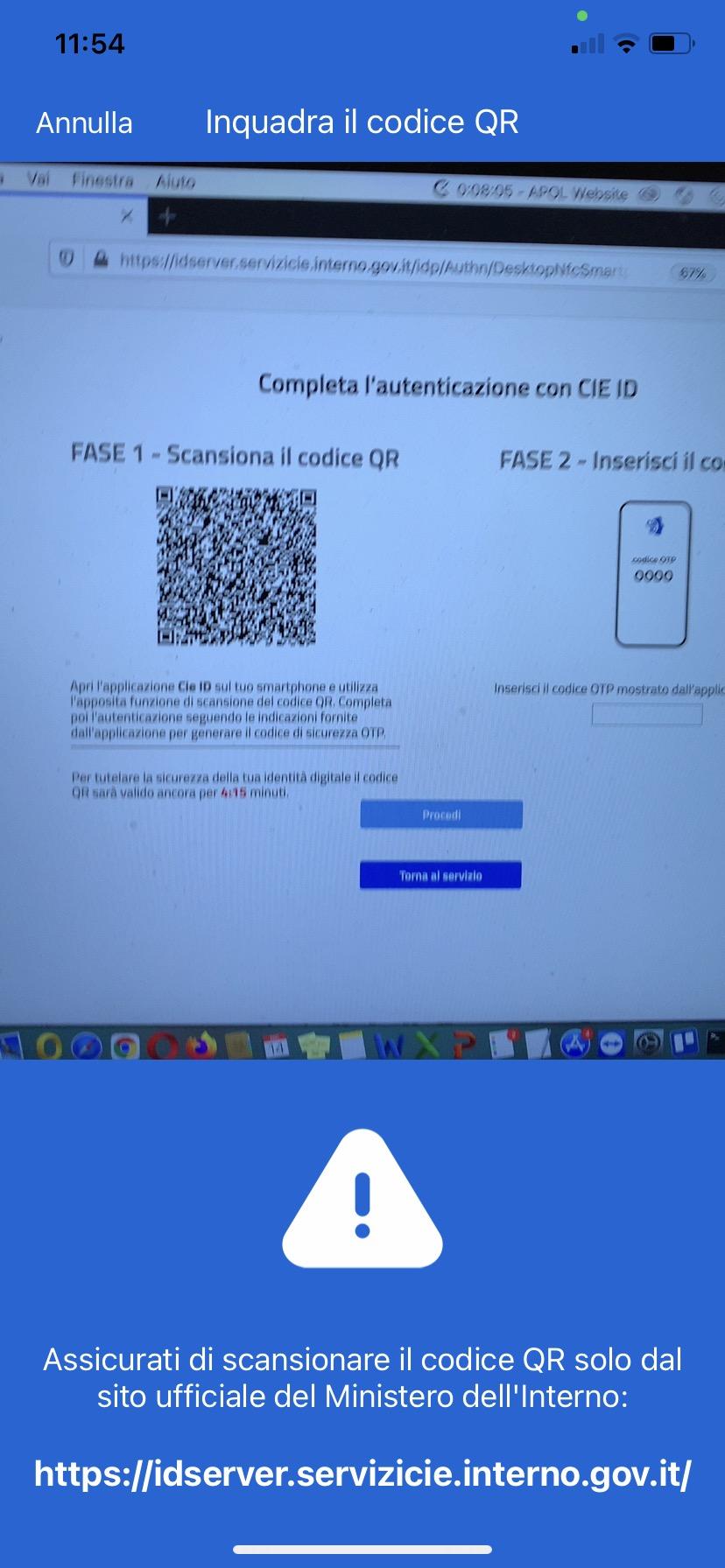 Schermata App CIE ID scansiona codice QR inquadratura