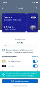 Schermata app IO Cashback numero di Transazioni