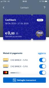 Schermata App IO cashback con il pulsante Dettaglio transazioni