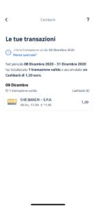 Schermata app IO Cashback dettaglio transazioni