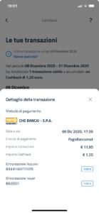 Schermata app io cashback dettaglio specifico del movimento transazione