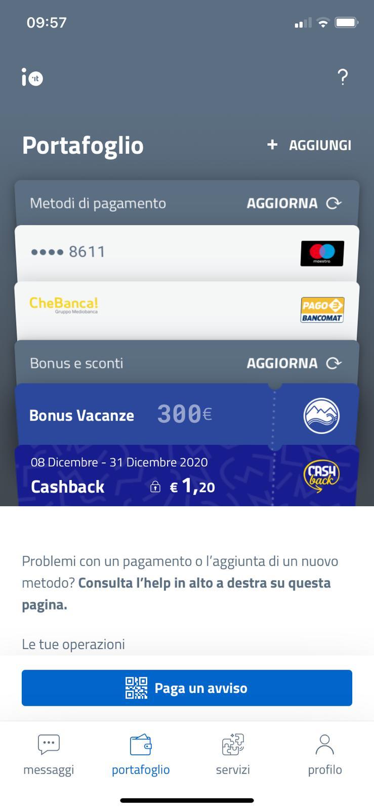 Schermata app IO Cashback portafoglio importo totale
