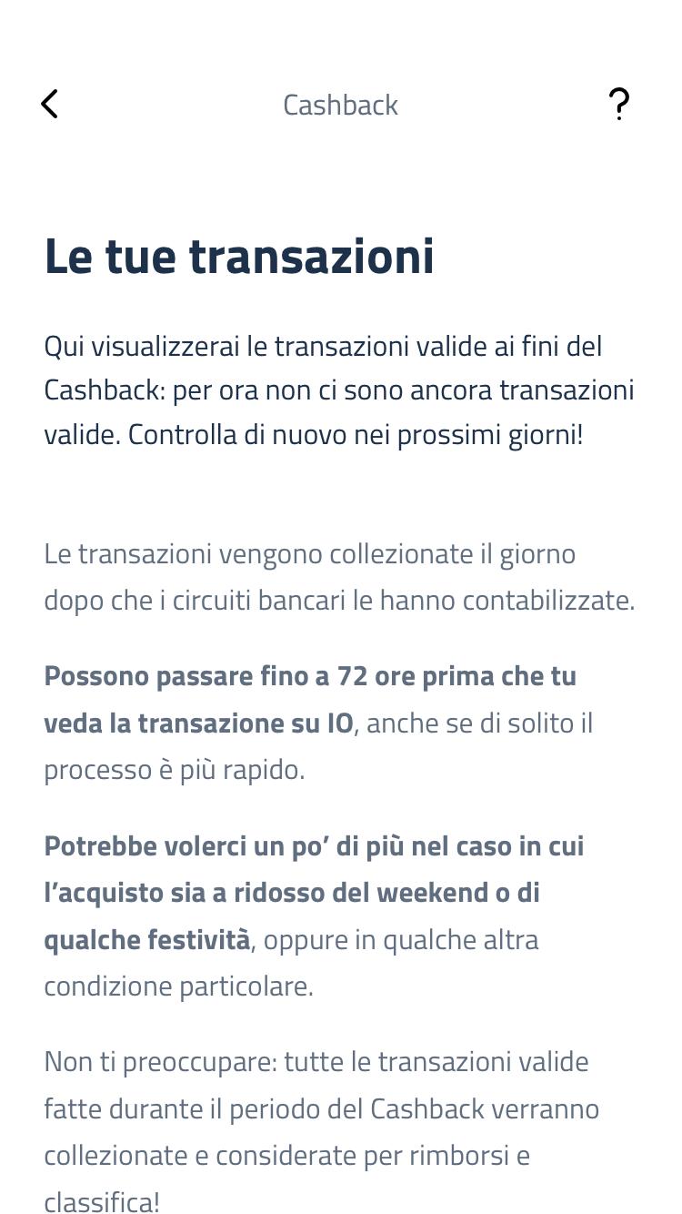 Schermata app IO dettaglio transazioni nessuna operazione