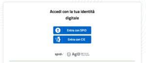 Schermata del servizio accedi con la tua itentià digitale entra con CIE