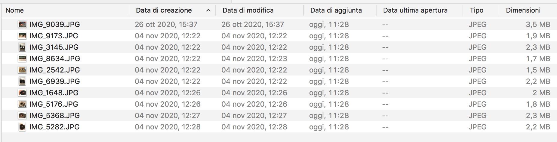 Schermata del Finder di Mac che mostra le colonne data: manca la data di scatto